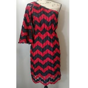 Judith March One Shoulder Red Black Size Large EUC